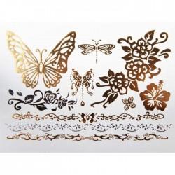 tatouage temporaire doré et argent papillon et fleur