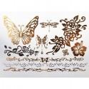 tatouage temporaire métallique papillon et fleur