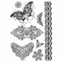 Tatouage éphémère dentelle fleur et papillon