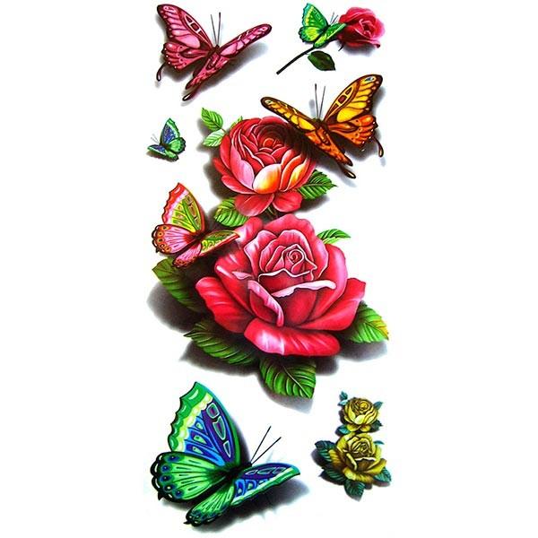 tatouage rose tatouage papillon tatouage ephemere rose ou papillon. Black Bedroom Furniture Sets. Home Design Ideas