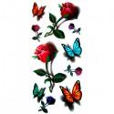 Tatouage bouton de rose et papillon 3D