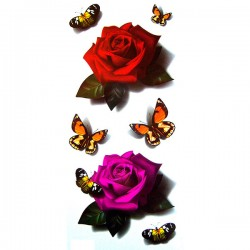 tatouage-papillon-et-rose-3d