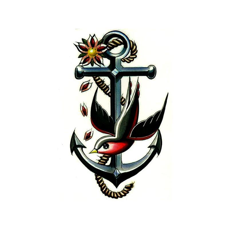 Tatouage ancre tatouage hirondelle tatouage ephemere ancre - Tatouage hirondelle old school ...