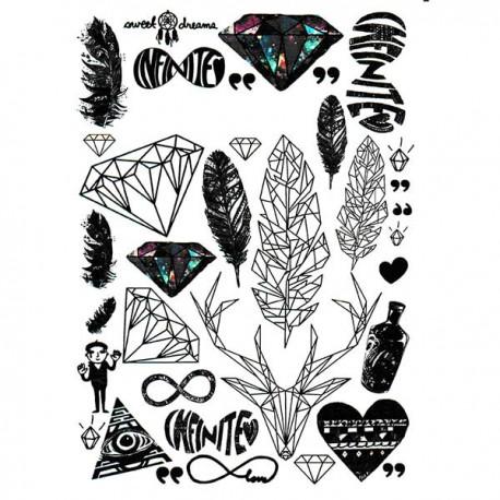 tatouage graphique, tatouage diamant