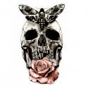 Tatouage crane, papillon et rose