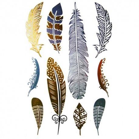 Tatouage-ephemere-dore-et-argent-plumes