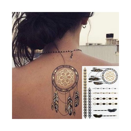 Tatouage ephemere tatouage bijoux tatouage dor tatouage plume - Tatouage ephemere dore ...