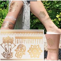 tatouage bijou ephemere doré et argent éléphant et mandala