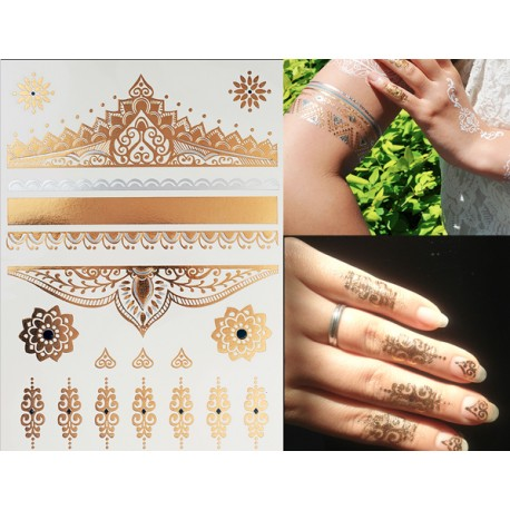 Tatouages bijoux éphémères doré et argent arabesques et fleurs