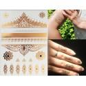 Tatouages bijoux éphémères métalliques arabesques et fleurs