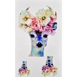 Tatouage éphémère tête de cerf fleurie