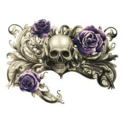 tatouage-ephemere-crane-et-rose-violette