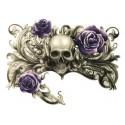 Tatouage éphémère crâne et rose violette