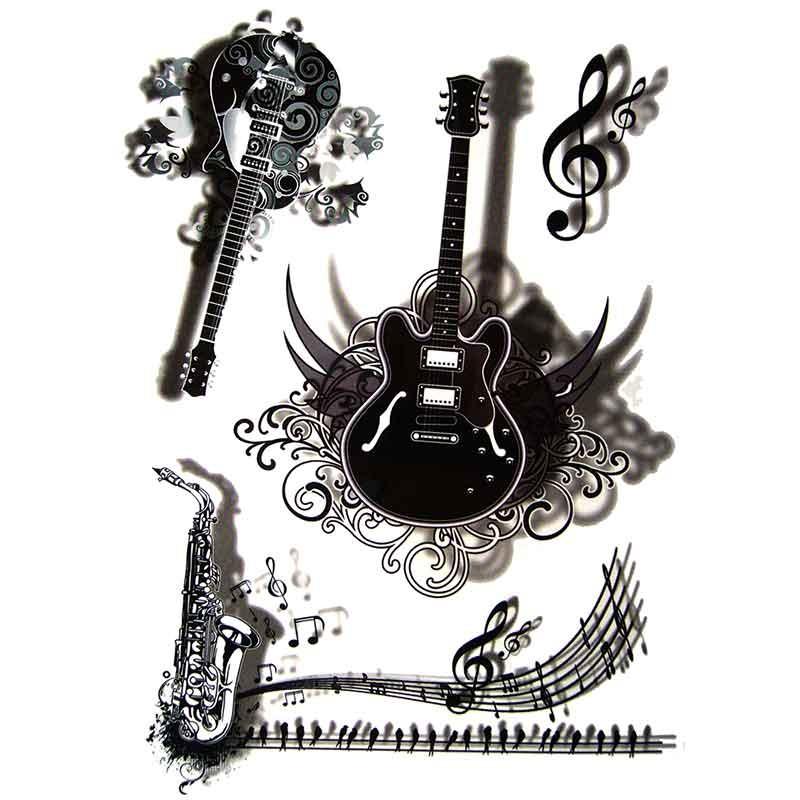Tatouage temporaire guitare 3D