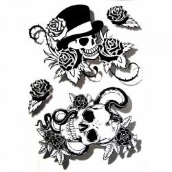 tatouage ephemere tete de mort tatouage temporaire tete de mort tempo tattoo. Black Bedroom Furniture Sets. Home Design Ideas