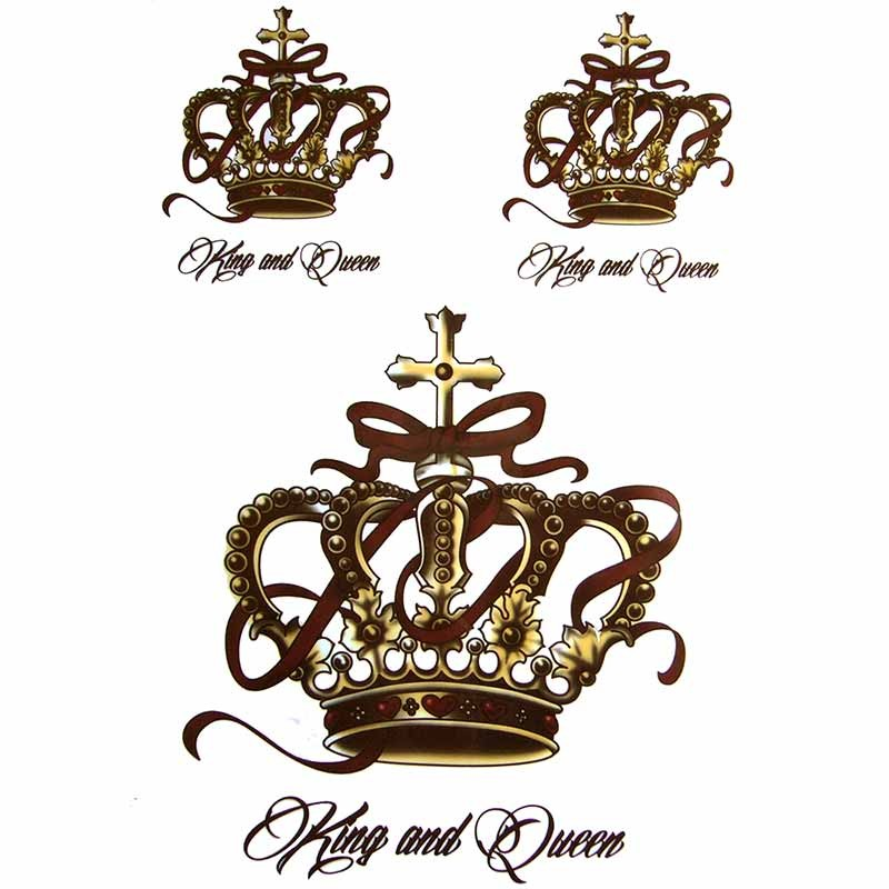 Tatouage,temporaire,Couronne,KIng,and,Queen