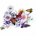 tatouage éphémère papillon et fleur multicouleur