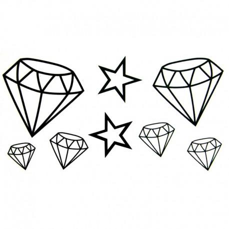 Tatouage-ephemere-diamants-et-etoiles