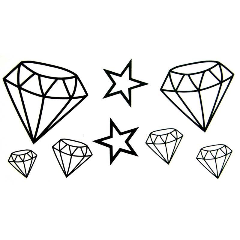 Tatouage ephemere ou temporaire diamant et etoile - Diamant dessin ...