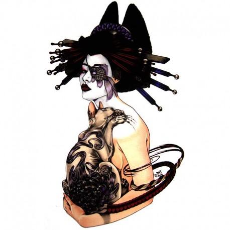 Tatouage-ephemere-geisha-et-chat