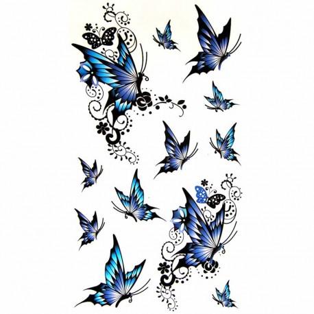 Planche complete de tatouage temporaire papillon bleu - Dessin papillon a decouper ...