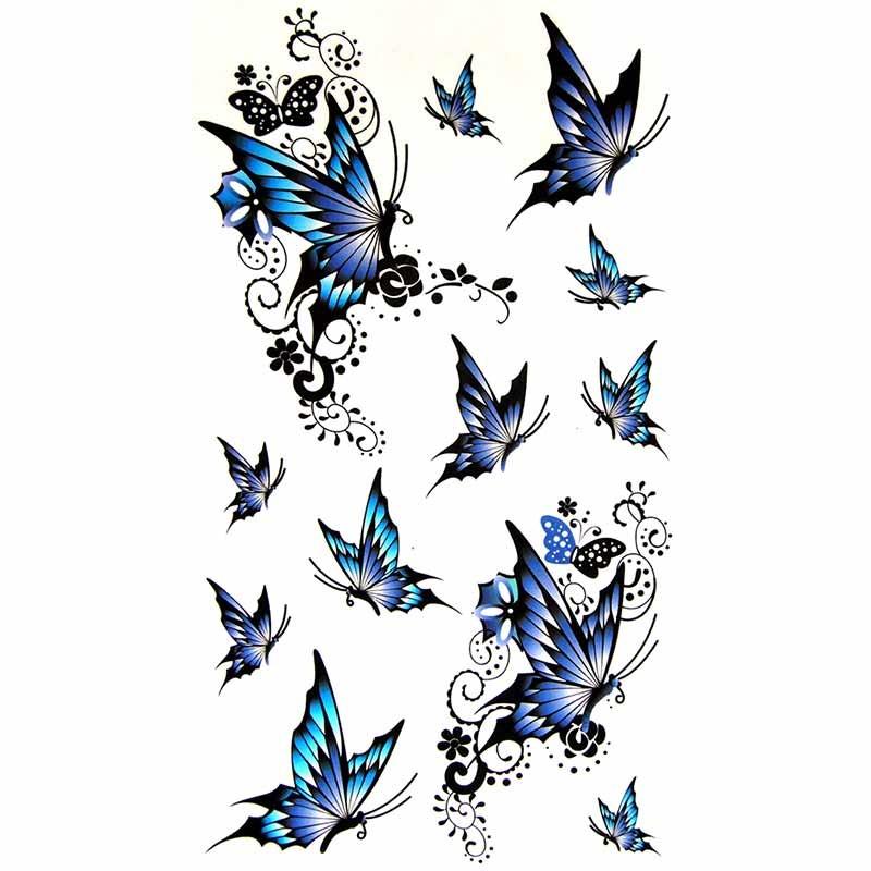 Planche complete de tatouage temporaire papillon bleu - Papillon dessin couleur ...