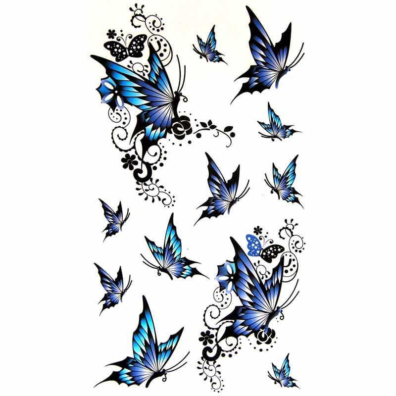 planche complete de tatouage temporaire papillon bleu. Black Bedroom Furniture Sets. Home Design Ideas