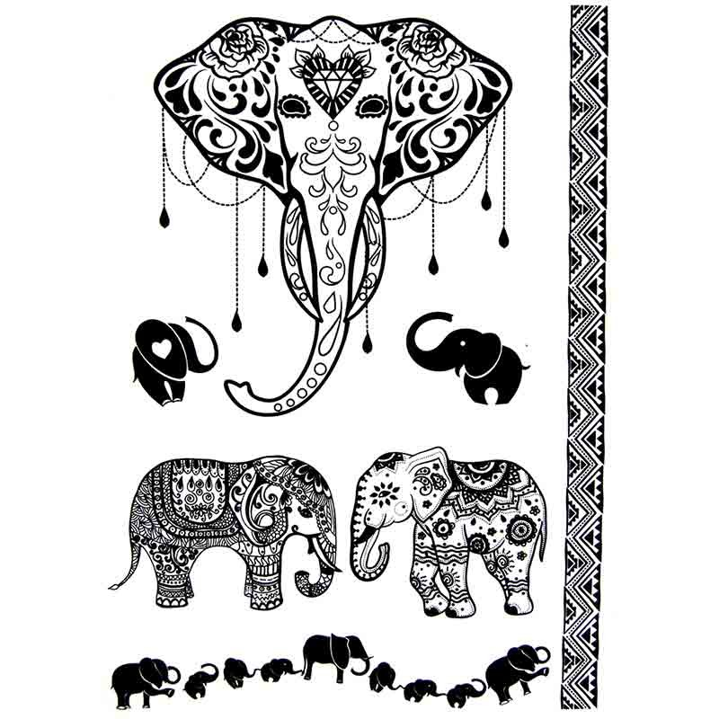 tatouage ephemere elephant. Black Bedroom Furniture Sets. Home Design Ideas
