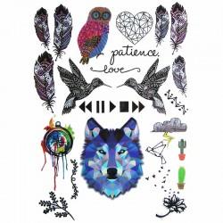 Tatouage-ephemere-loup-et-animaux