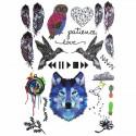 Tatouage éphémère loup et animaux