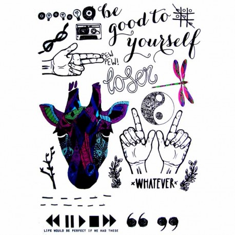 Tatouage-temporaire-Girafe-et-écriture