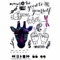 Tatouage temporaire Girafe et écriture