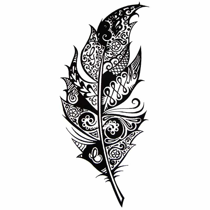 tatouage temporaire plume tribal. Black Bedroom Furniture Sets. Home Design Ideas