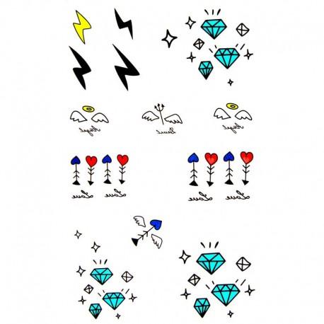 Tatouage-temporaire-diamants-et-éclairs