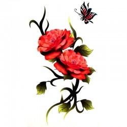 Tatouage-temporaire-rose-et-papillons