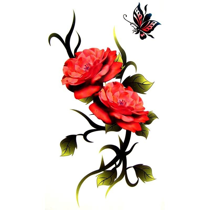 magnifique tatouage de rose temporaire. Black Bedroom Furniture Sets. Home Design Ideas