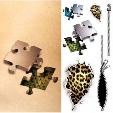 tatouage-ephemere-puzzle-3D-fermeture-eclair