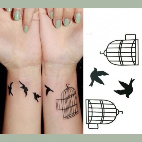 tatouage temporaire oiseaux et cage noir. Black Bedroom Furniture Sets. Home Design Ideas