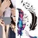 Tatouage éphémère plume colorée et oiseaux