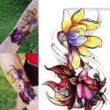 tatouage ephemere new school fleur et poisson