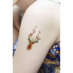 tatouage-temporaire-tete-de-cerf-fleurie