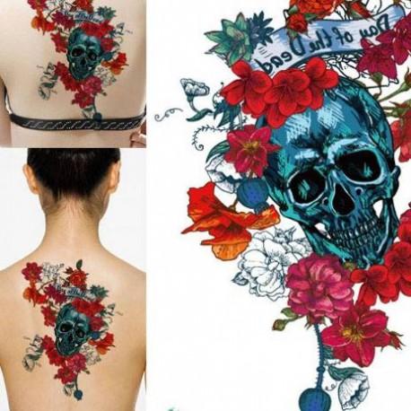 Tatouage temporaire tête de mort et rose rouge