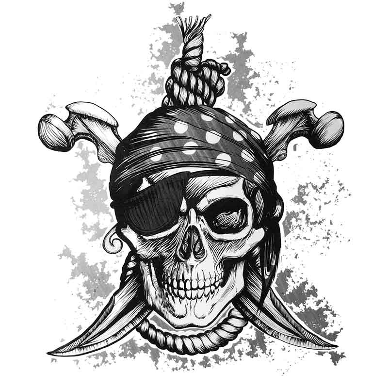 Tatouage temporaire ou ephemere de tete de mort de pirate - Tete de pirate dessin ...