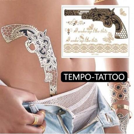 Tatouage ephemere doré et argent revolver