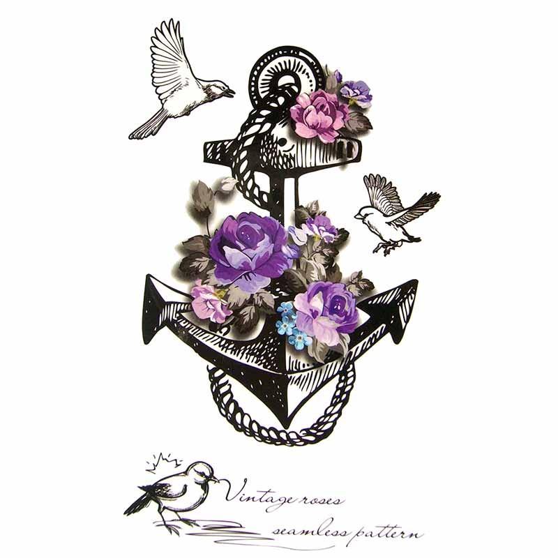 Tatouage temporaire ancre marine et rose violette tempo - Dessiner une ancre marine ...