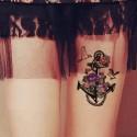 Tatouage temporaire ancre marine et rose violette