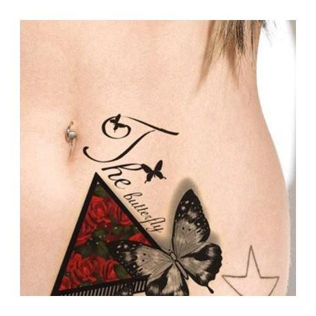 Tatouage-temporaire-papillons-roses-et-lettrage