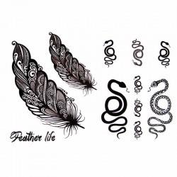 Tatouage-temporaire-serpent-et-plume