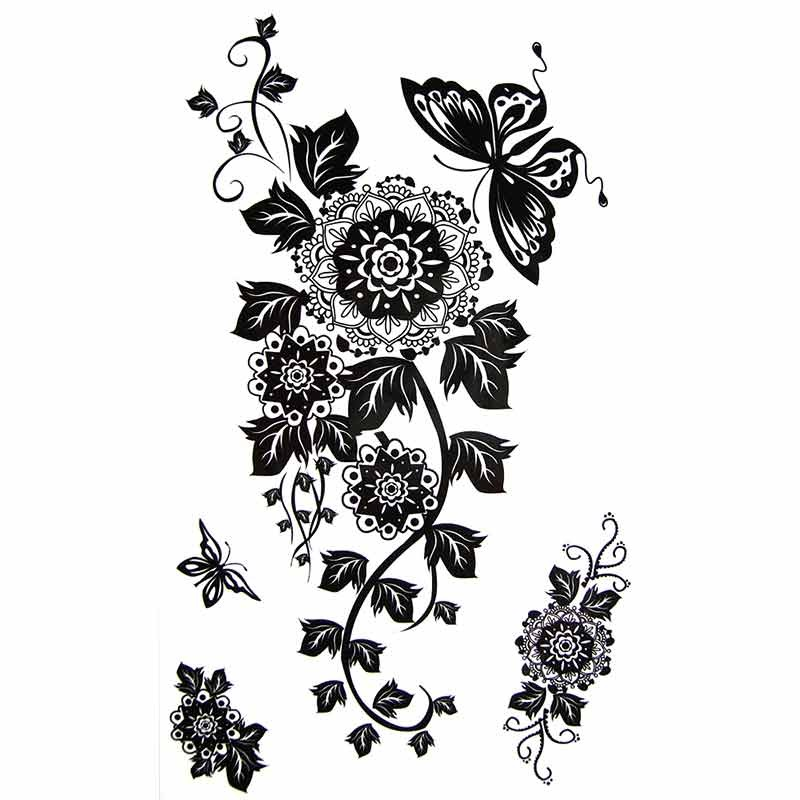 tatouage temporaire fleur mandala et papillon tempo tattoo. Black Bedroom Furniture Sets. Home Design Ideas