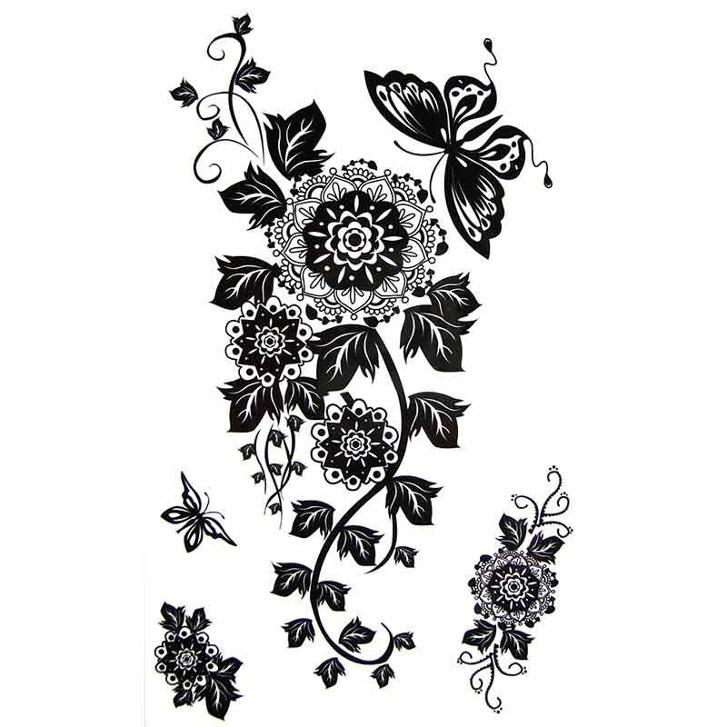 Tatouage temporaire fleur mandala et papillon tempo tattoo - Mandala fleur ...